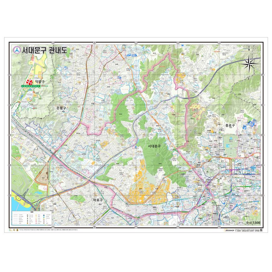 서울시 서대문구 지도 155cm X 110cm