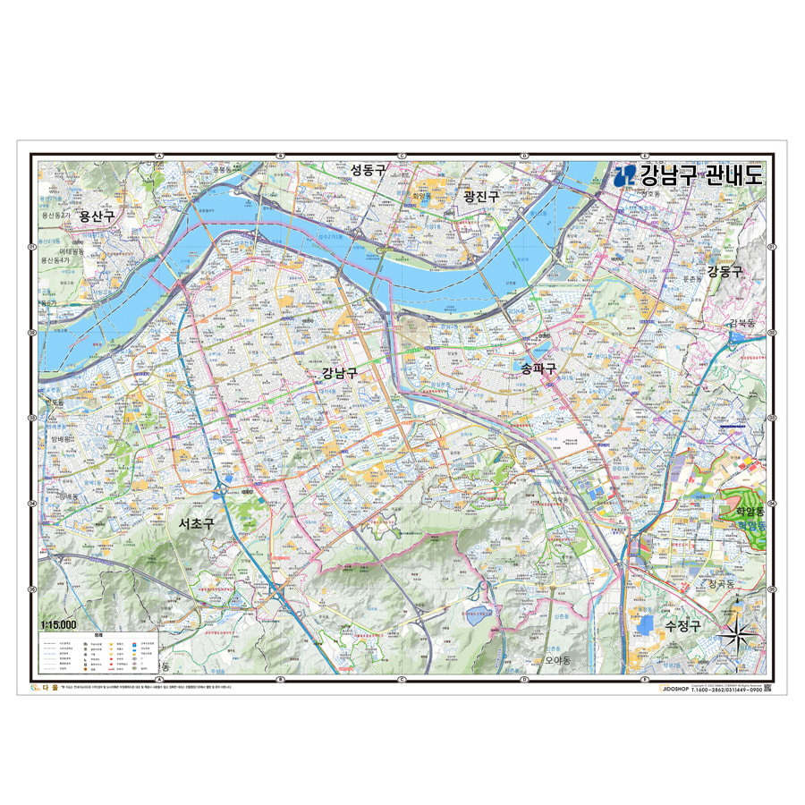 서울시 강남구 지도 210cm X 155cm