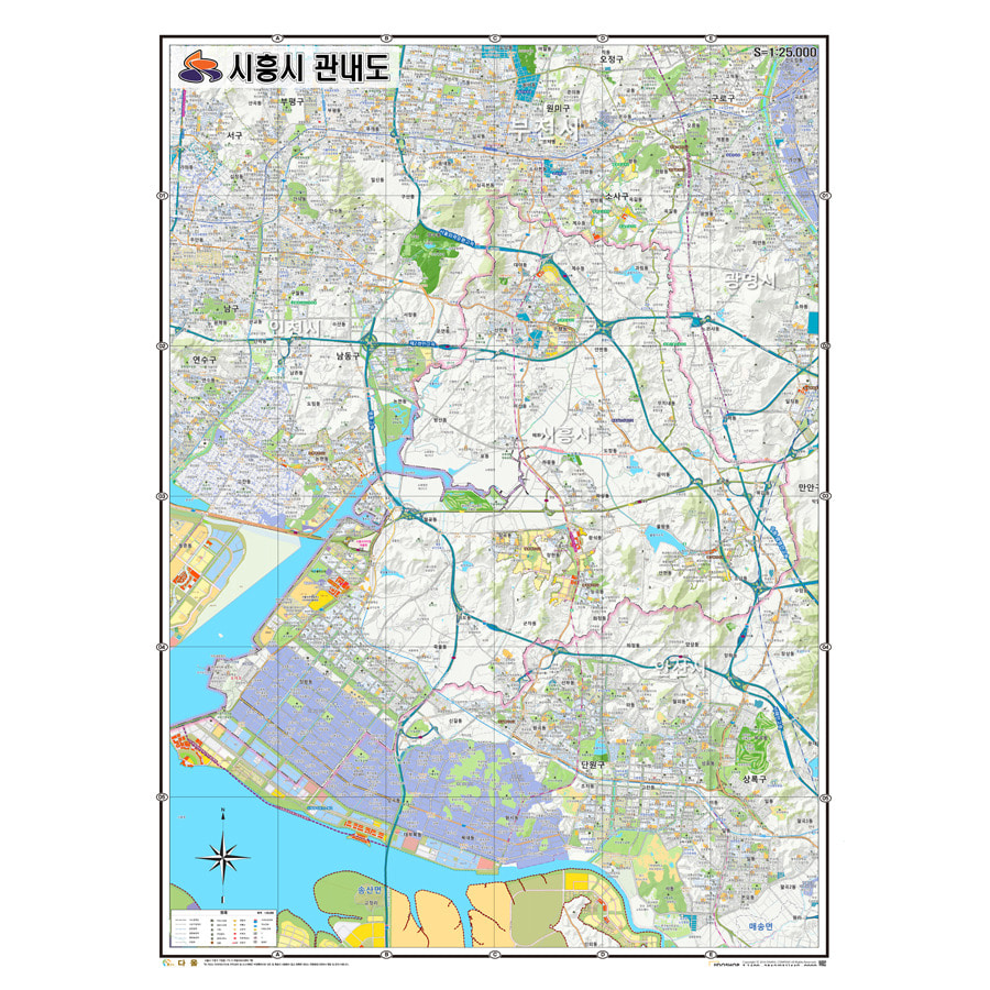 경기도 시흥시 지도 210cm X 155cm