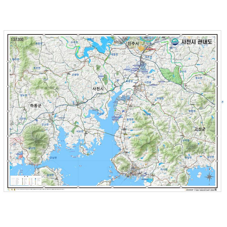 경상남도 사천시 지형 지도 210cm X 155cm