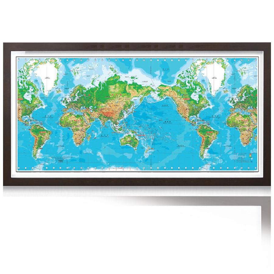 세계지도K-지세 2000(大) 코팅형 액자 300cm x 150cm