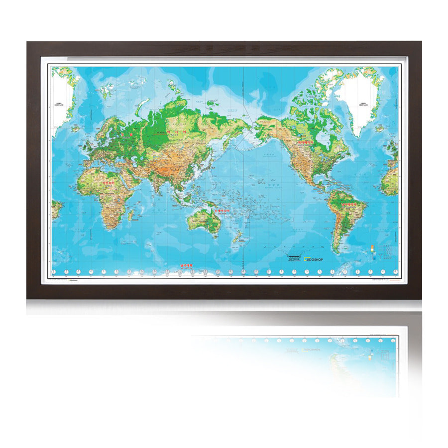 세계지도 K-지세  1618 (大) 코팅형 액자 242cm x 152cm