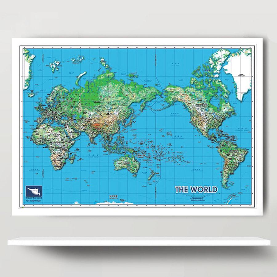 세계지도 S-BLUE (小)-코팅형 108cm x 78cm
