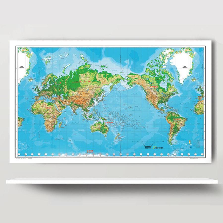 세계지도 K-지세 1618 (小)-코팅형 126cm x 78cm