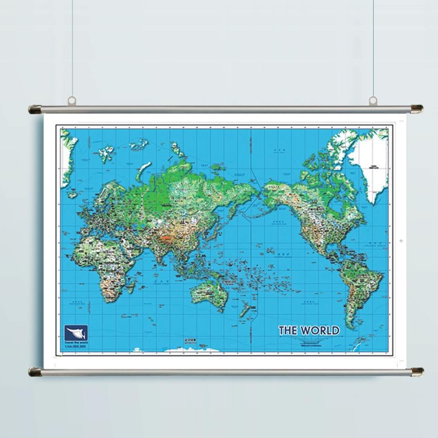 세계지도 S-BLUE(小)-코팅형 108cm x 78cm 족자