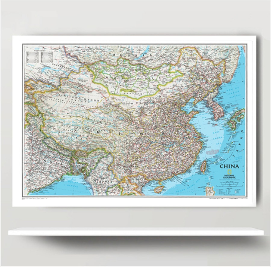 내셔널 CLASSIC 중국지도 종이코팅 95cm x 75cm