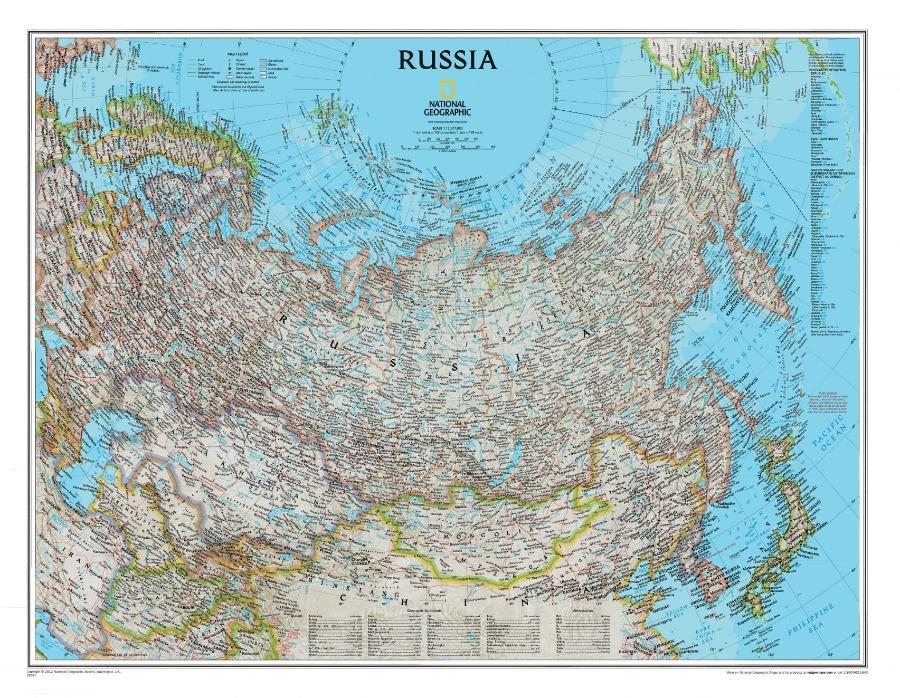 내셔널 CLASSIC 러시아지도 종이코팅 95cm x 75cm