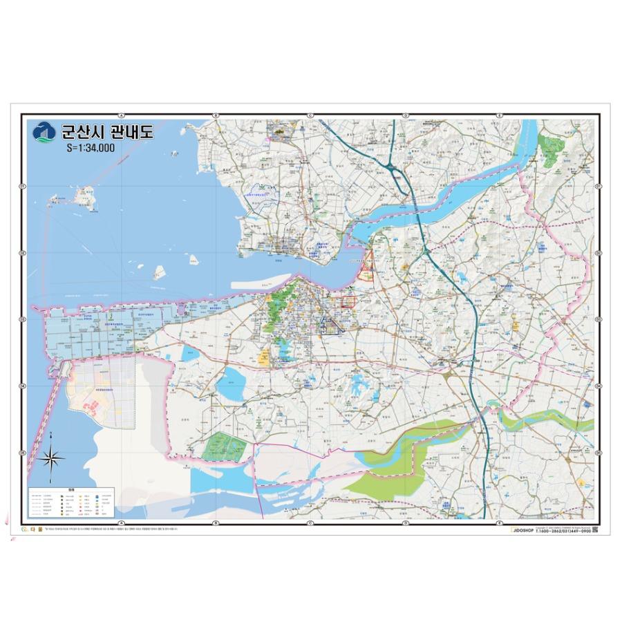 전라북도 군산시 지도 210cm X 155cm