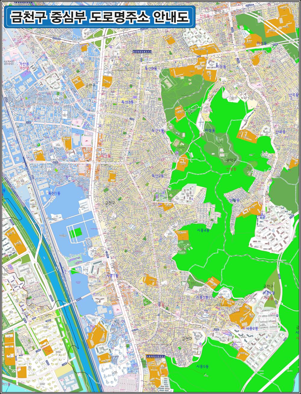 서울시 금천구 중심부 도로명주소 지도