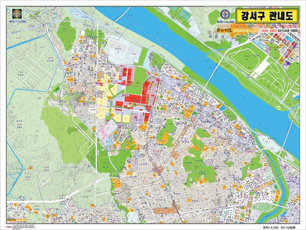 서울시 강서구 관내도.지도  215cm x 155cm