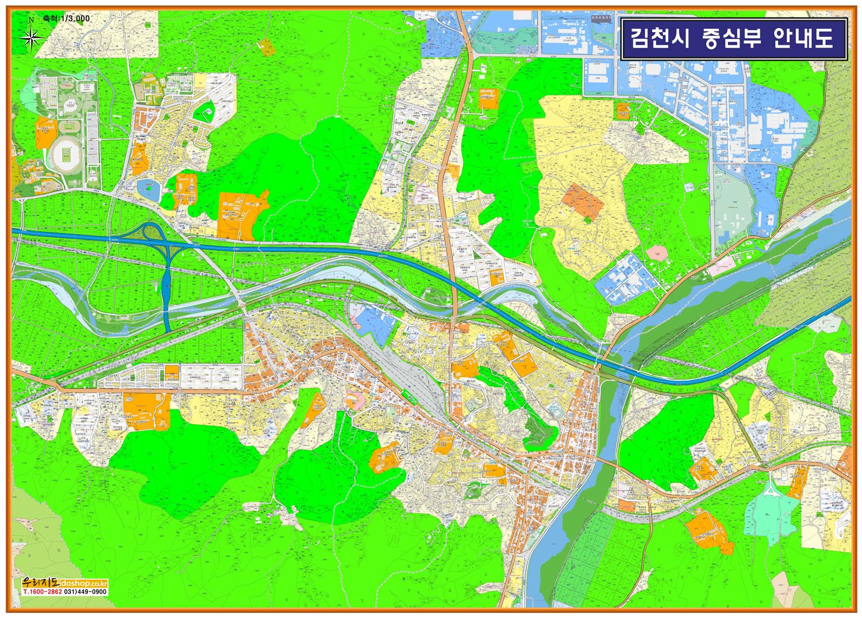 경상북도 김천시 중심부 안내도.지도 215cm x 155cm