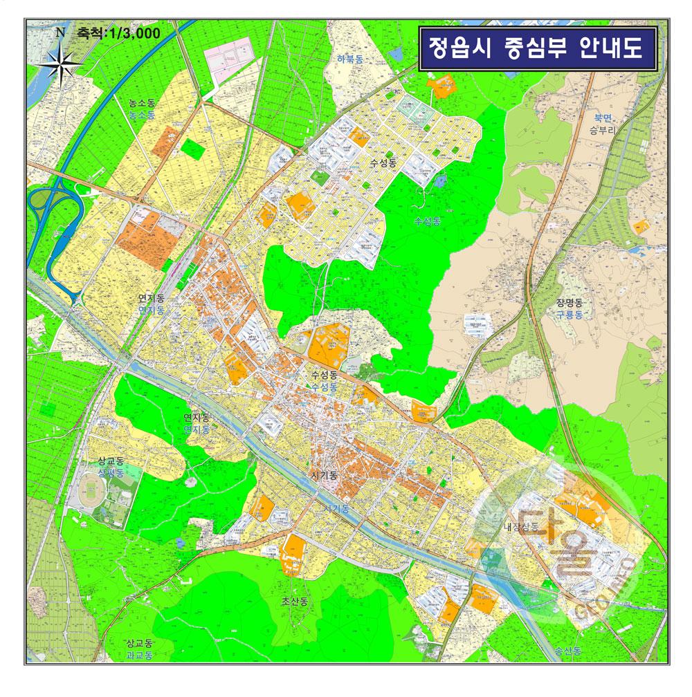 전라북도 정읍시 중심부 안내도.지도 155cm x 155cm