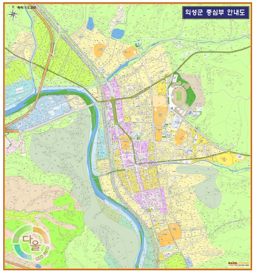 경상북도 의성군 중심부 안내도.지도 130cm x 140cm