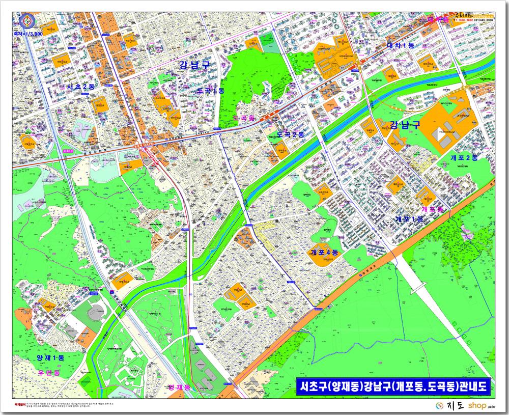 서울시 서초구 양재동 강남구 개포동.도곡동 관내도.지도 110cm x 80cm
