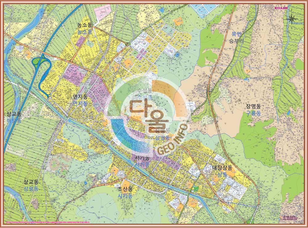 전라북도 정읍시 중심부 안내도.지도 155cm x 110cm