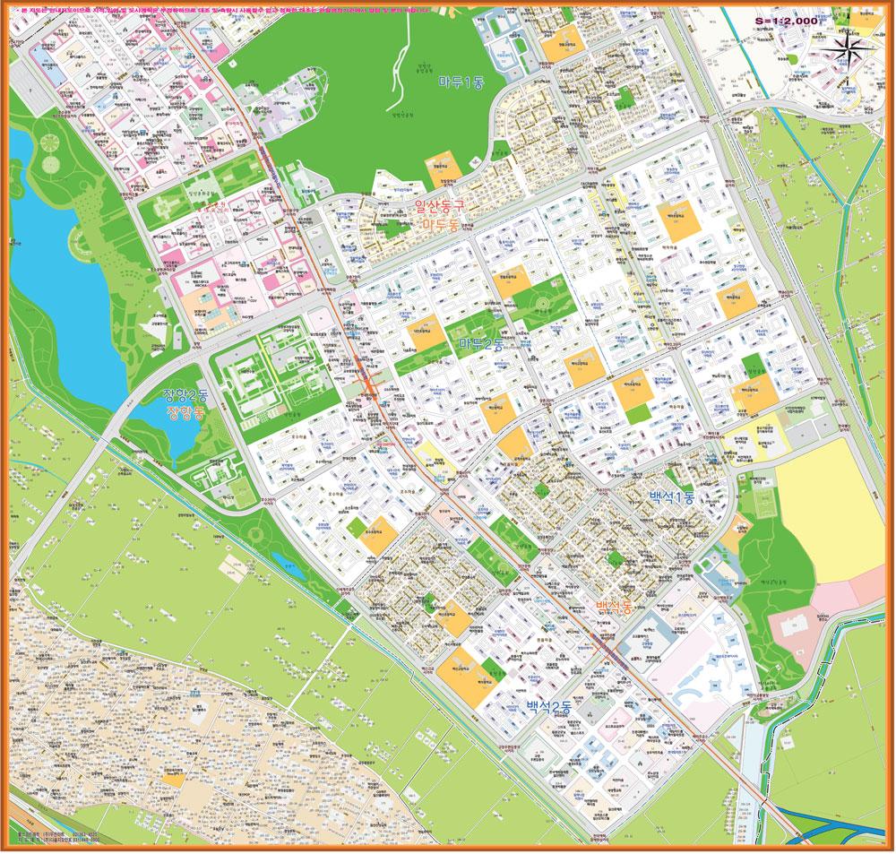 고양시 마두역 주변 도로명주소 지도 150cm x 150cm